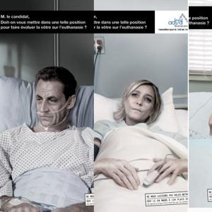 Campanie soc: Candidatii francezi la presedintie, infatisati pe patul de moarte